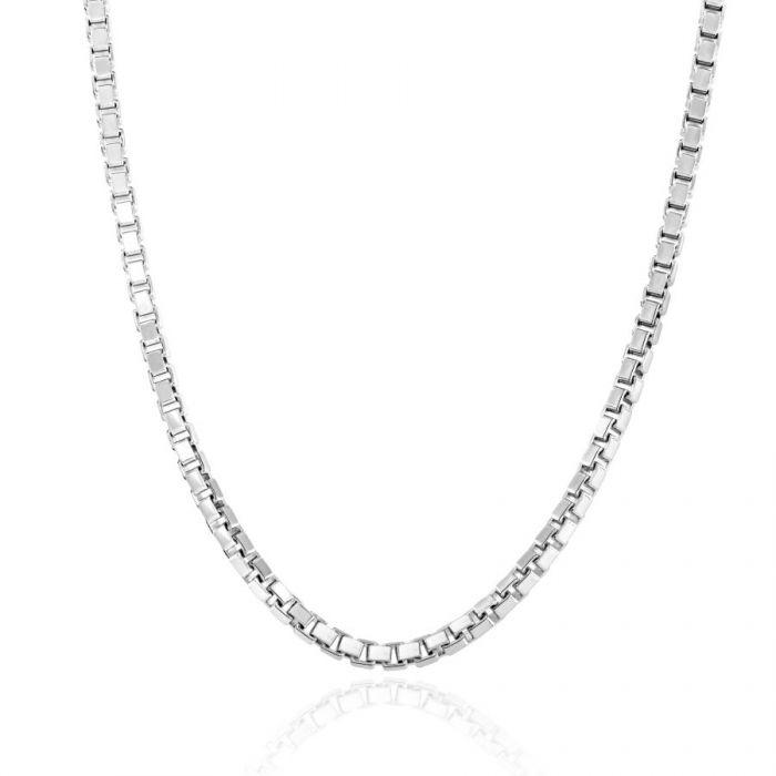 Sterling Silver 2.3mm Box Chain Necklace Diamond Cut