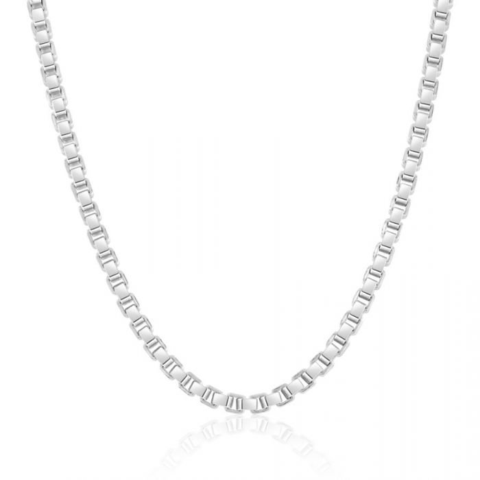 Sterling Silver 2.8mm Box Chain Necklace Diamond Cut