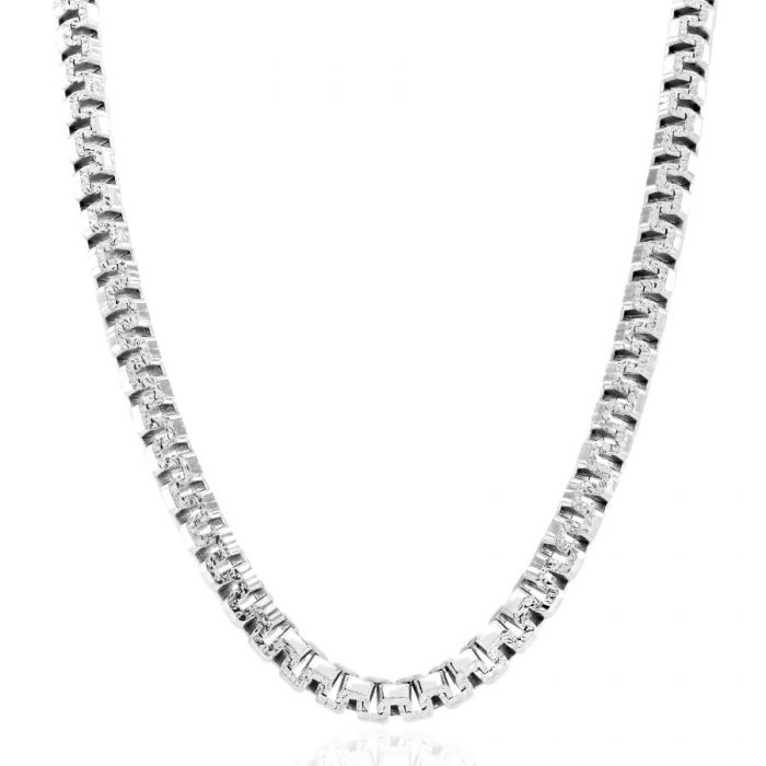 Sterling Silver 4.6mm Greek Box Pave Chain Necklace