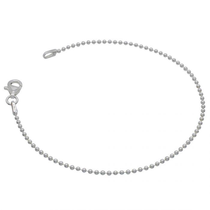 Sterling Silver 1.5mm Ball Bead Link Bracelet