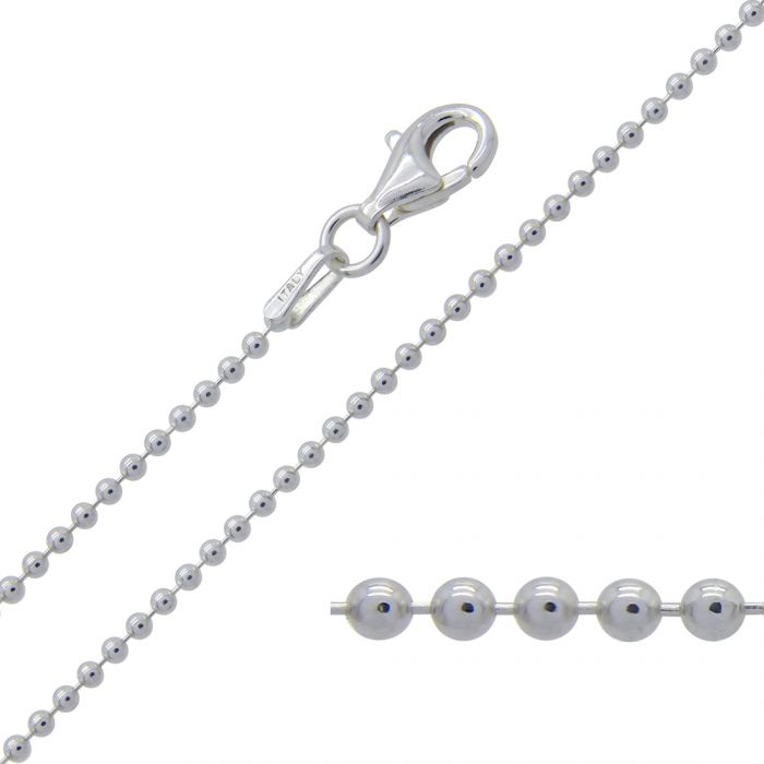 Sterling Silver 1.5mm Ball Bead Link Bracelet