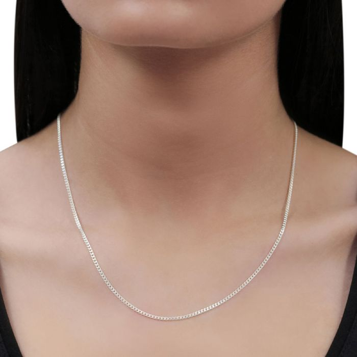Sterling Silver 2mm Diamond Cut Curb Chain Necklace