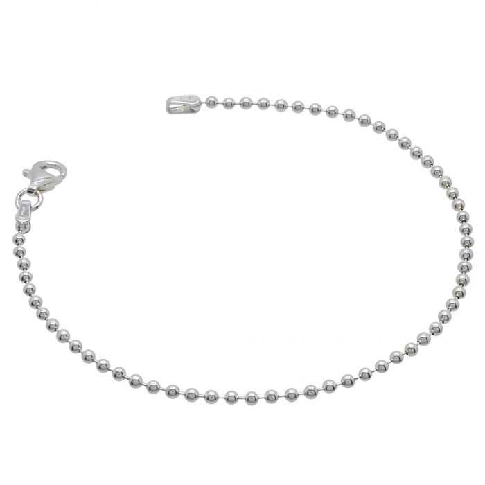 Sterling Silver 2mm Ball Bead Link Bracelet