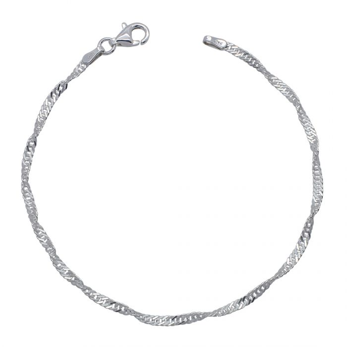 Sterling Silver 2mm Singapore Bracelet with Diamond Cut Links