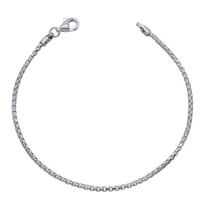 Sterling Silver 2mm Rounded Box Link Bracelet