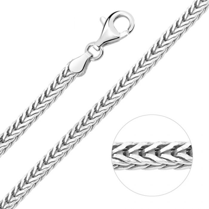 Sterling Silver 3.1mm Diamond Cut Foxtail Chain Necklace