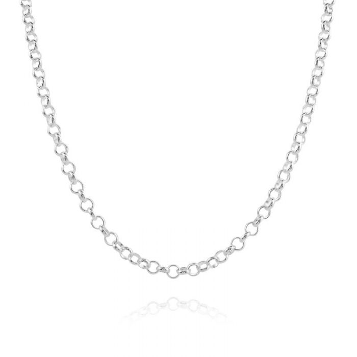 Sterling Silver 3.4mm Belcher Rolo Chain Necklace