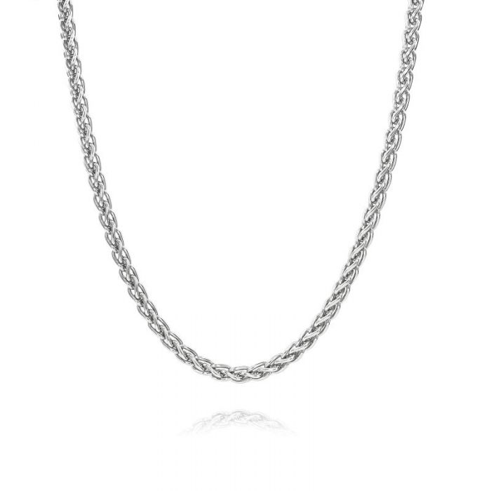 Sterling Silver 3.4mm Spiga Wheat Chain Necklace Heavy