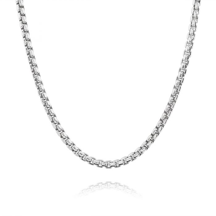 Sterling Silver 3.7mm Rounded Box Chain Necklace Thick