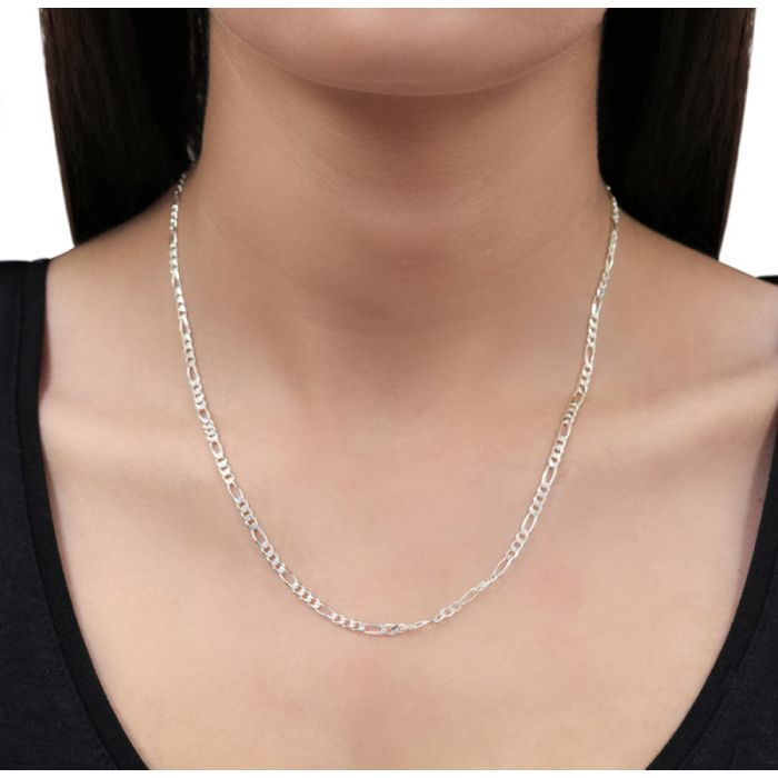 Sterling Silver 3mm Diamond Cut Figaro Chain Necklace
