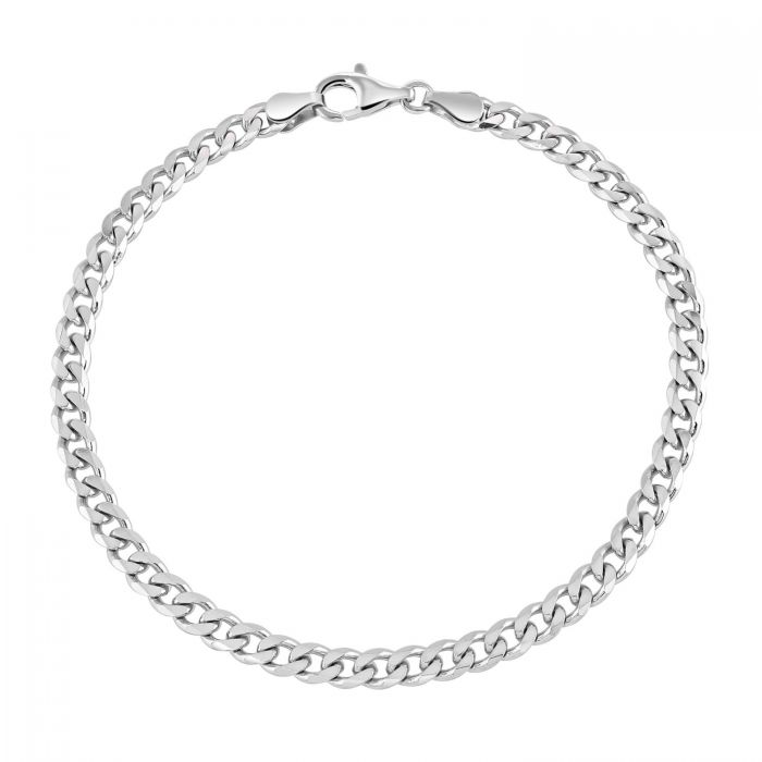 Sterling Silver 4.3mm Diamond Cut Curb Link Bracelet