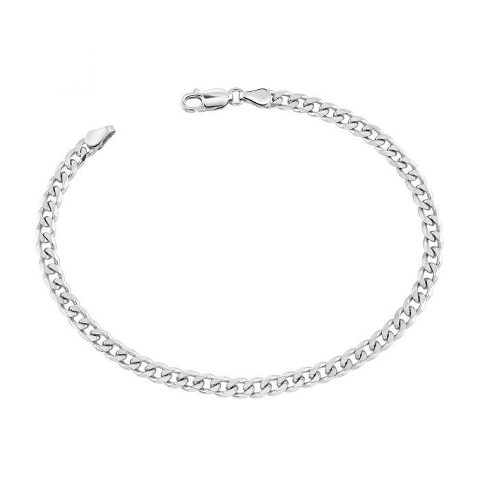 Sterling Silver 4.3mm Diamond Cut Curb Link Bracelet