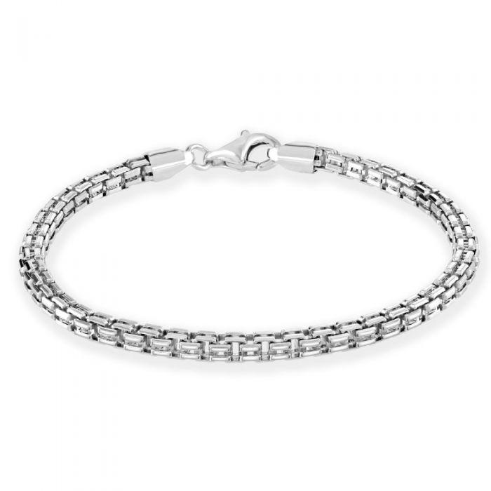 Sterling Silver 4mm Double Box Bracelet Diamond Cut