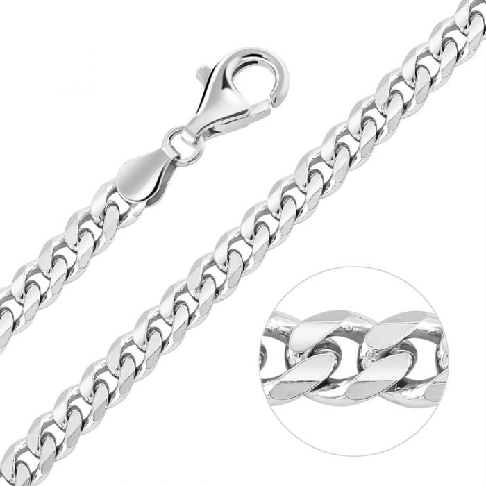 Sterling Silver 5.4mm Diamond Cut Curb Chain Necklace