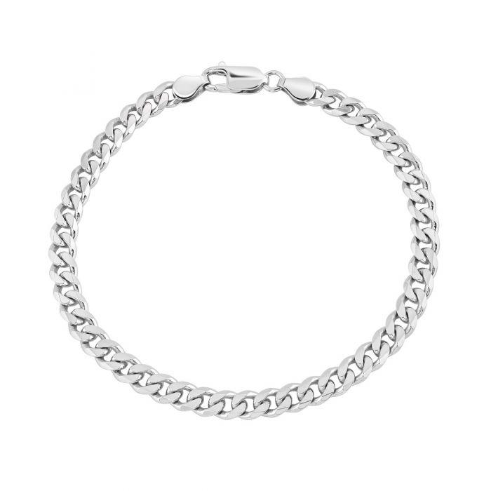 Sterling Silver 5.4mm Diamond Cut Curb Link Bracelet