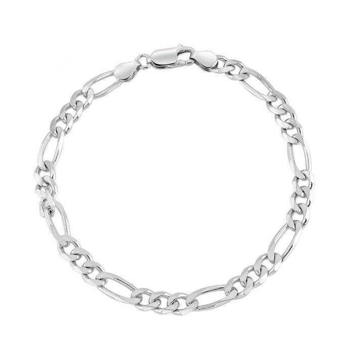 Sterling Silver 5.7mm Diamond Cut Figaro Link Bracelet
