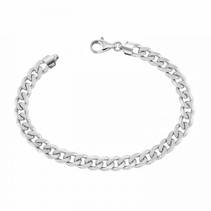 Sterling Silver 7.3mm Diamond Cut Curb Link Bracelet