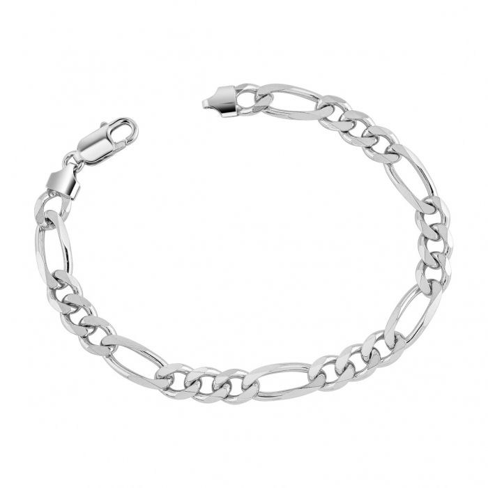 Sterling Silver 7.6mm Diamond Cut Figaro Link Bracelet