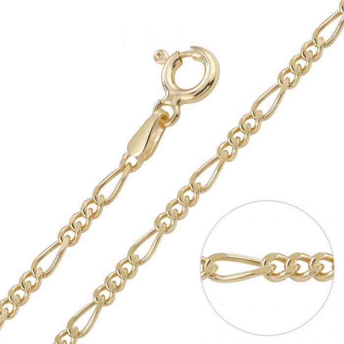 9ct Yellow Gold plated 2mm Diamond Cut Figaro Chain Necklace