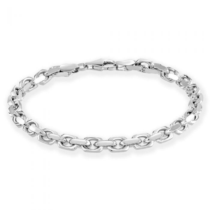 Sterling Silver 4.6mm Anchor Bracelet Diamond Cut