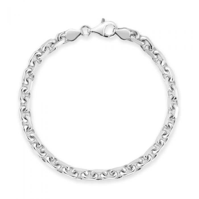 Sterling Silver 4.6mm Anchor Bracelet Diamond Cut
