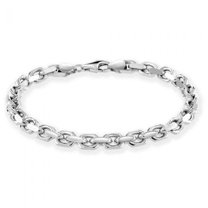 Sterling Silver 5.5mm Anchor Bracelet Diamond Cut