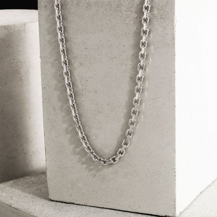 Sterling Silver 3.5mm Anchor Chain Necklace Diamond Cut