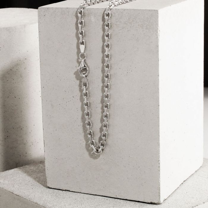 Sterling Silver 3mm Anchor Chain Necklace Diamond Cut