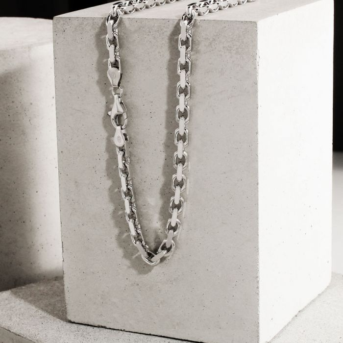 Sterling Silver 4.6mm Anchor Chain Necklace Diamond Cut
