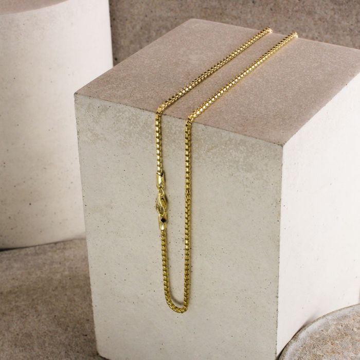 9ct Yellow Gold Plated 2mm Rounded Box Chain Necklace
