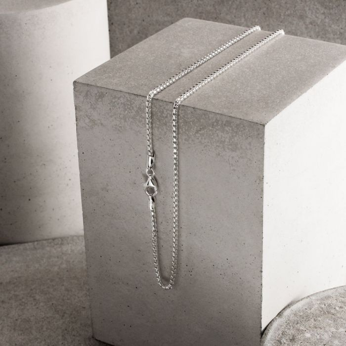 Sterling Silver 2mm Rounded Box Chain Necklace