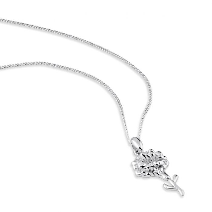 Sterling Silver JANUARY CARNATION Necklace with Curb chain