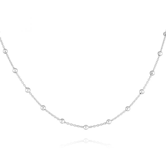 Sterling Silver 1.3mm Cable Chain Bobble Necklace with Round Ball Beads