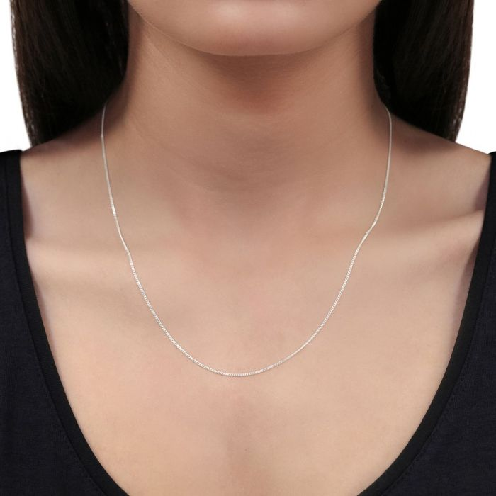 Sterling Silver 0.8mm Fine Curb Chain Necklace