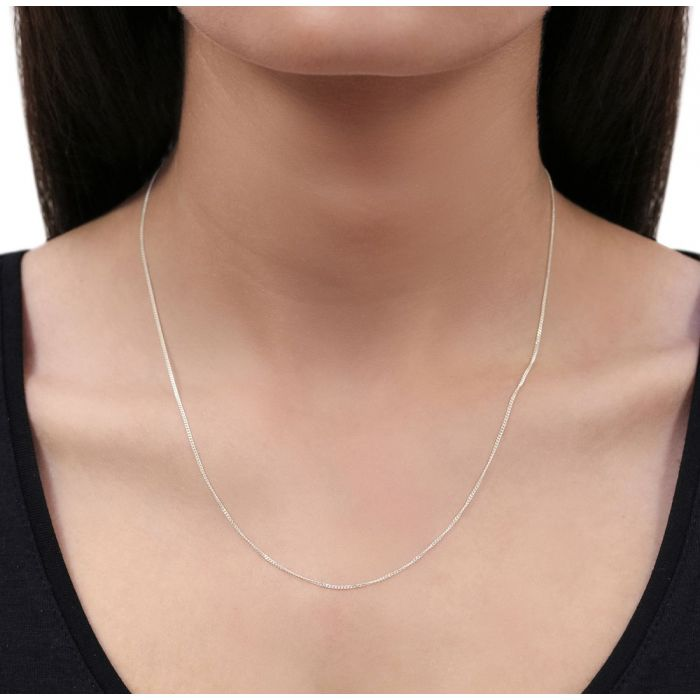 Sterling Silver 1mm Fine Diamond Cut Curb Chain Necklace