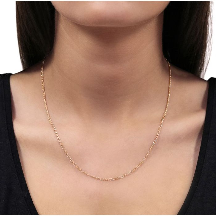 9ct Rose Gold plated 2mm Diamond Cut Figaro Chain Necklace