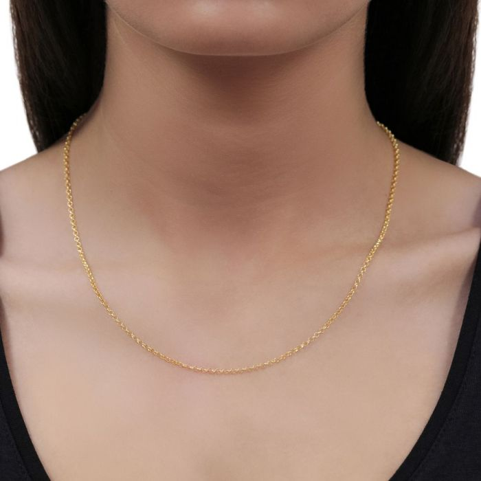 9ct Yellow Gold plated 2mm Belcher Rolo Chain Necklace