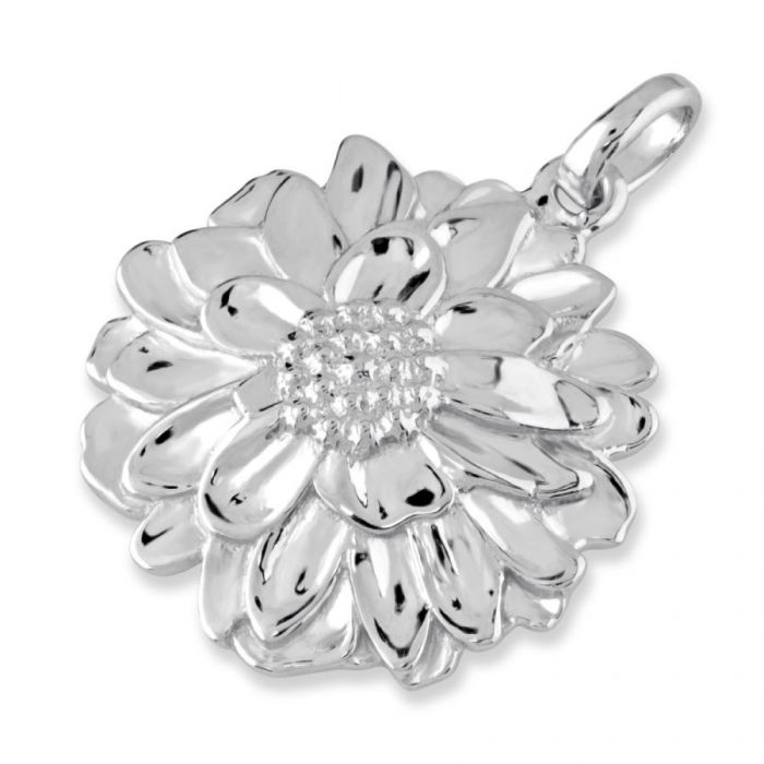Sterling Silver Chrysanthemum November Flower Pendant