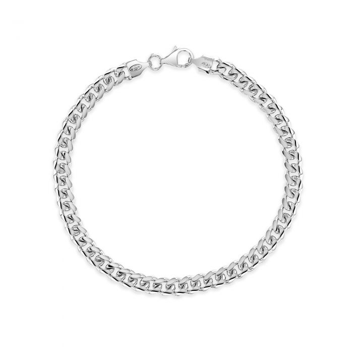 Sterling Silver 5.6mm Diamond Cut Cuban Bracelet
