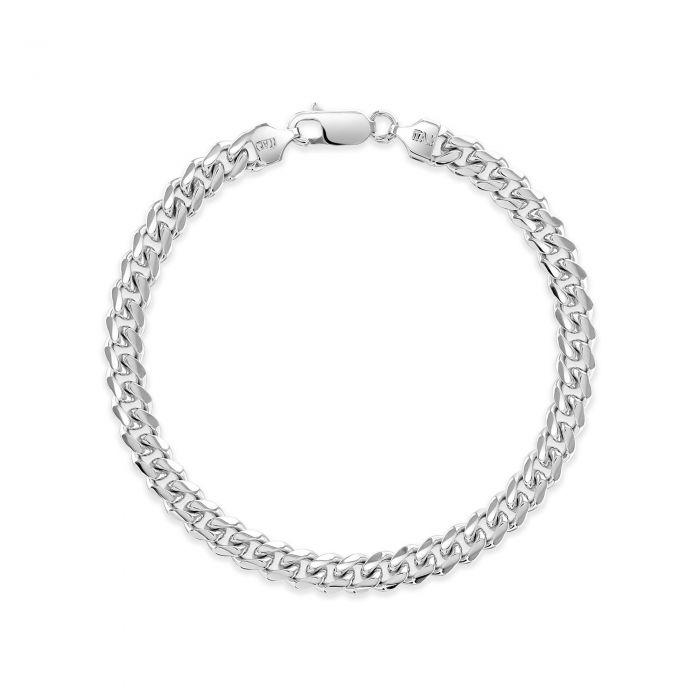 Sterling Silver 6.3mm Diamond Cut Cuban Bracelet