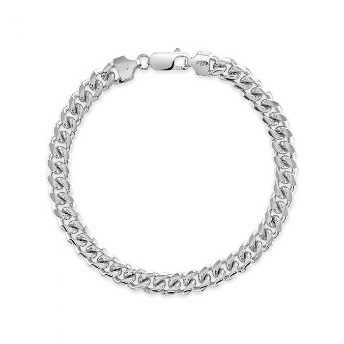 Sterling Silver 7mm Diamond Cut Cuban Bracelet