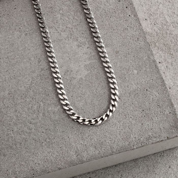 Sterling Silver 4.3mm Diamond Cut Curb Chain Necklace