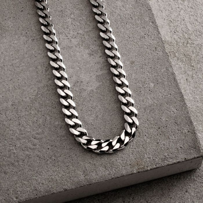 Sterling Silver 7.3mm Diamond Cut Curb Chain Necklace Heavy
