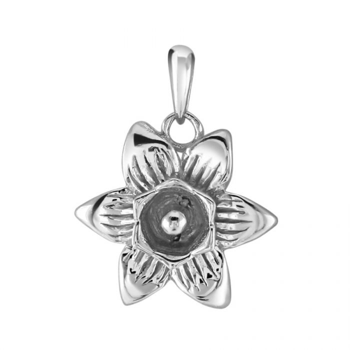 Sterling Silver Daffodil March Flower Pendant