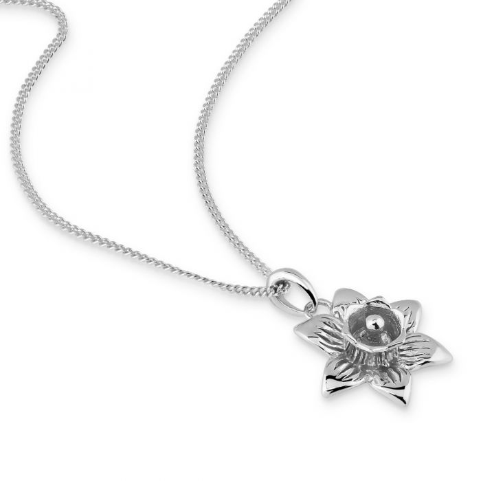 Sterling Silver MARCH DAFFODIL Necklace with Curb chain