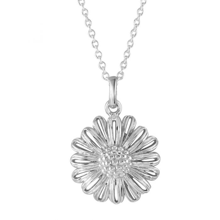 Sterling Silver APRIL DAISY Necklace with Cable Chain