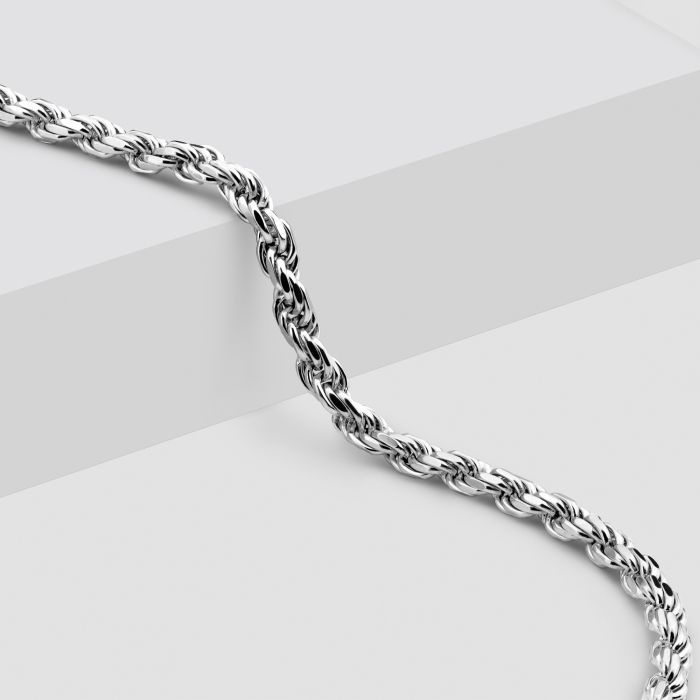 Sterling Silver 2.8mm Diamond Cut Rope Chain Necklace