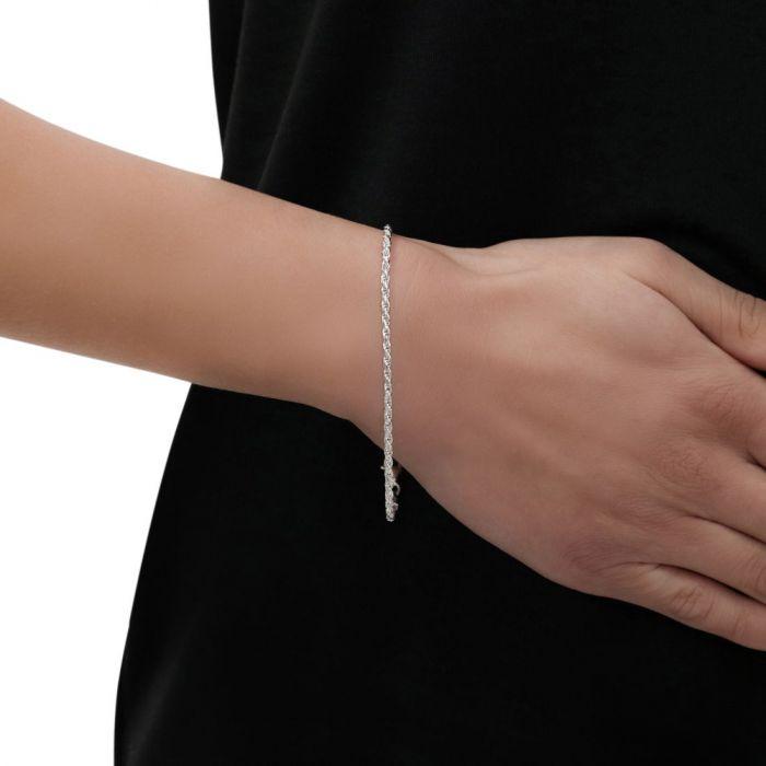 Sterling Silver 2.3mm Diamond Cut Rope Link Bracelet