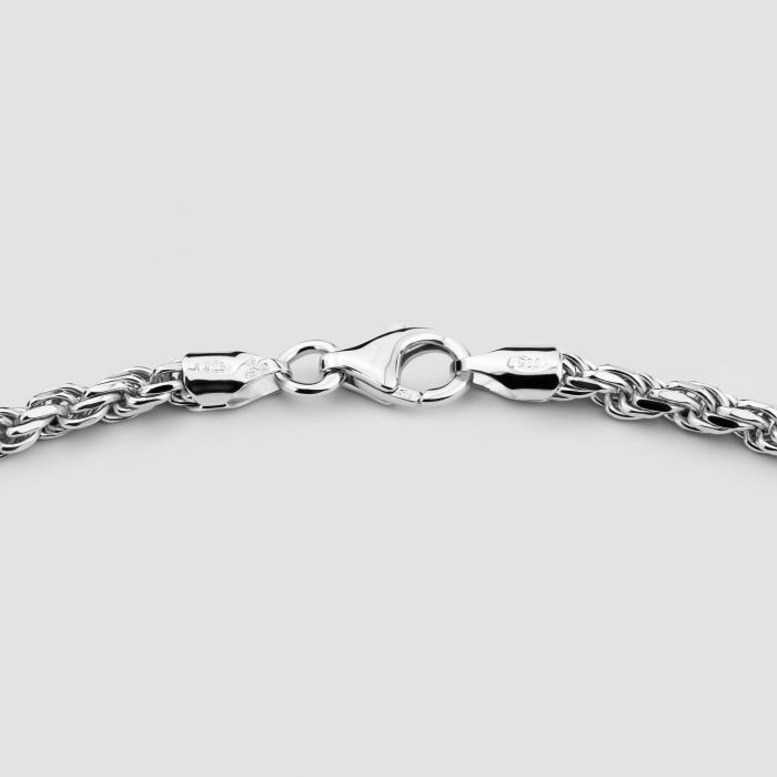 Sterling Silver 3.3mm Diamond Cut Rope Chain Necklace