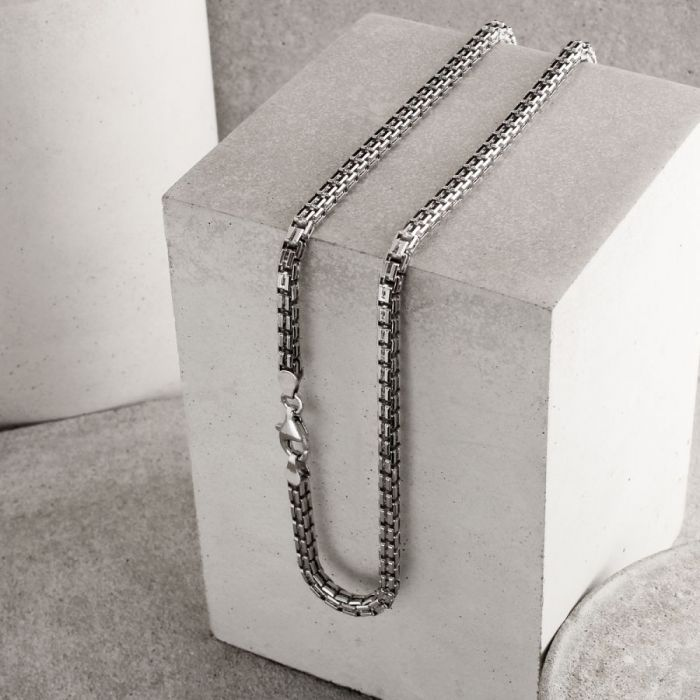 Sterling Silver 4mm Double Box Chain Necklace Diamond Cut